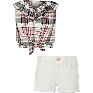 Girls coral check tie front top outfit