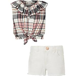 Outfit met koraalrode geruite top met strik voor meisjes