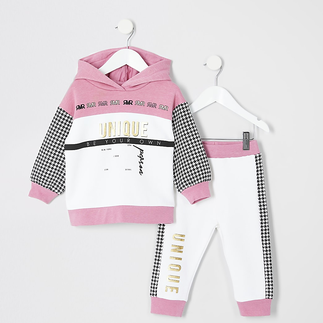 Mini girls pink 'Unique' hoodie outfit