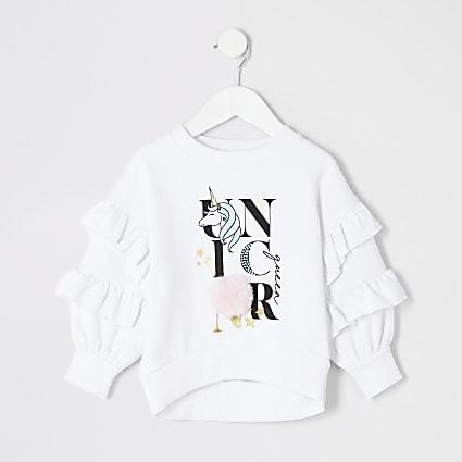 Mini girls white 'Unicorn' pom pom jumper