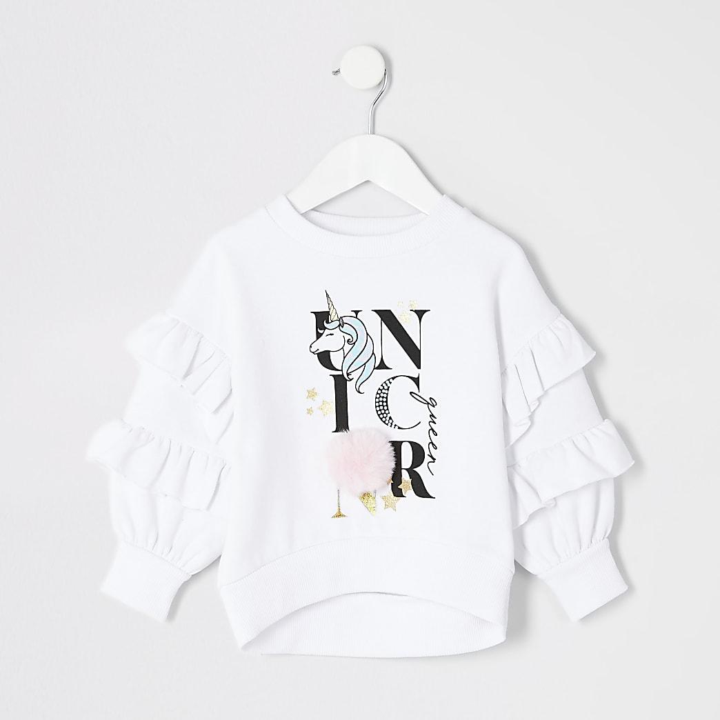 Unicorn - Mini witte pullover met pom pom mouwen voor meisjes