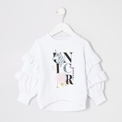 Mini girls white 'Unicorn' pom pom jumper