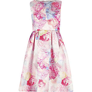 Girls Chi Chi London pink floral Ohanna Dress