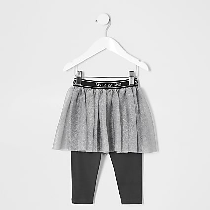 Mini girls grey RI Active tutu skirt leggings