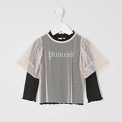 Mini girls 'Princess' mesh top
