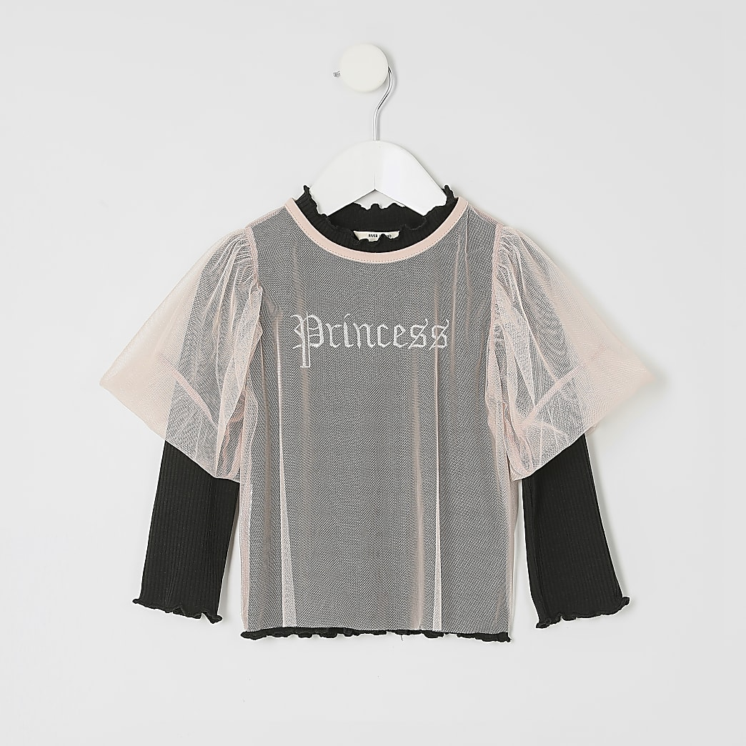 Mini girls 'Princess' mesh top