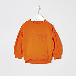 Mini - Oranje sweatshirt met print voor meisjes