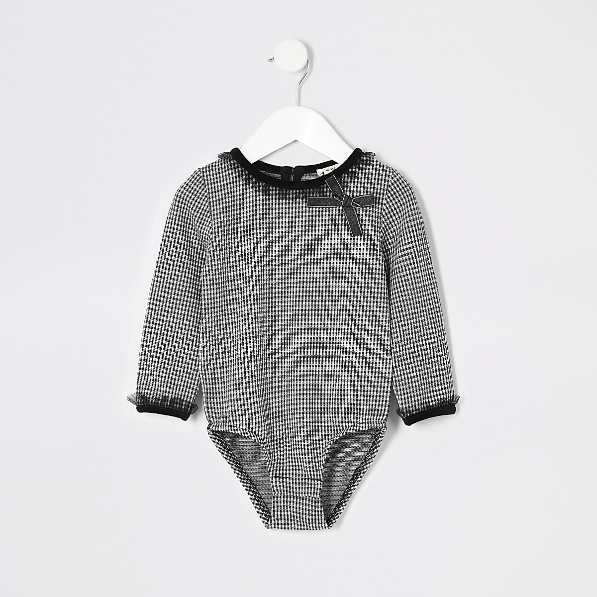 Mini girls black dogtooth bodysuit