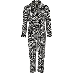 Girls white dogtooth check jumpsuit