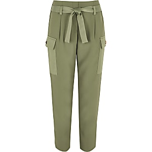 Khaki utility pocket trousers
