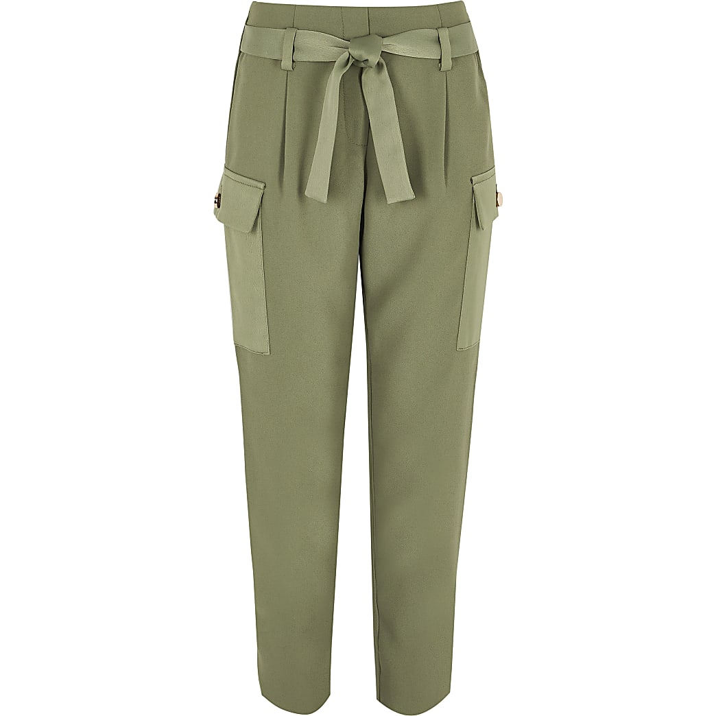 Khaki utility pocket trousers