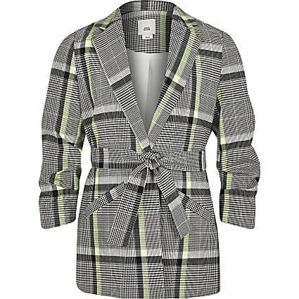 Girls lime check belted blazer