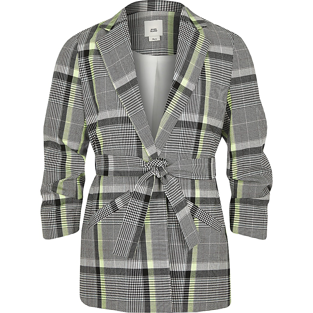 Girls lime check belted blazer
