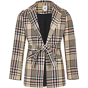 Girls beige check belted blazer