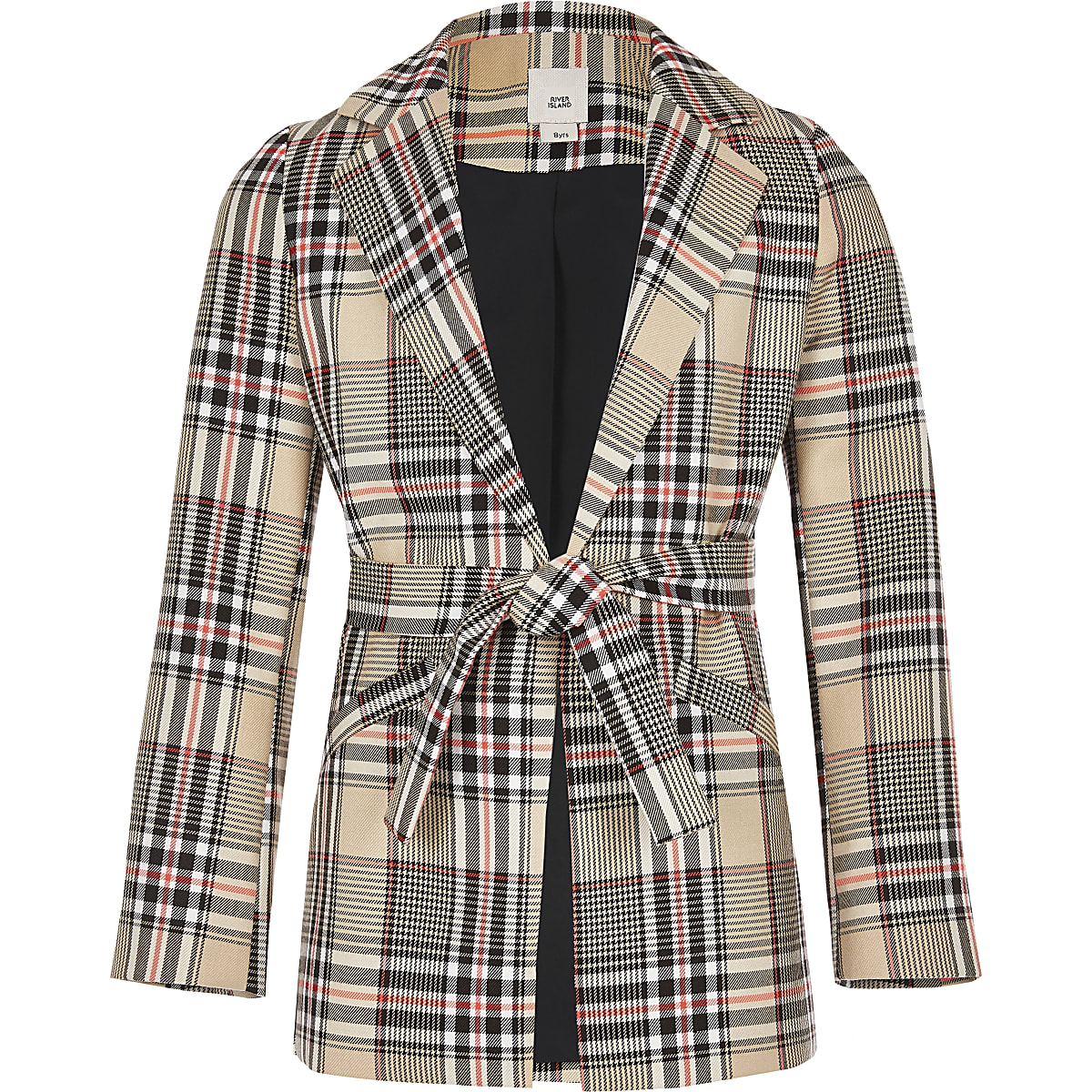 Girls beige check belted blazer
