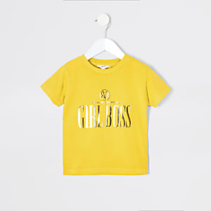 Mini girls yellow foil print T-shirt