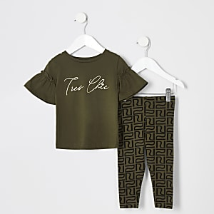 Ensemble t-shirt à volant + legging kaki Mini fille