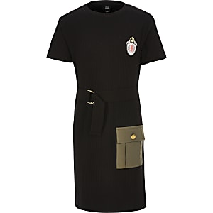 Girls black utility dress