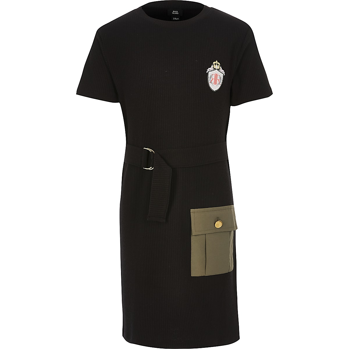 Girls black utility dress