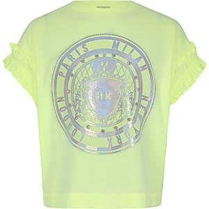 Girls neon green embellished T-shirt