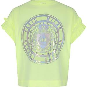 T-shirt vert fluo orné pour fille