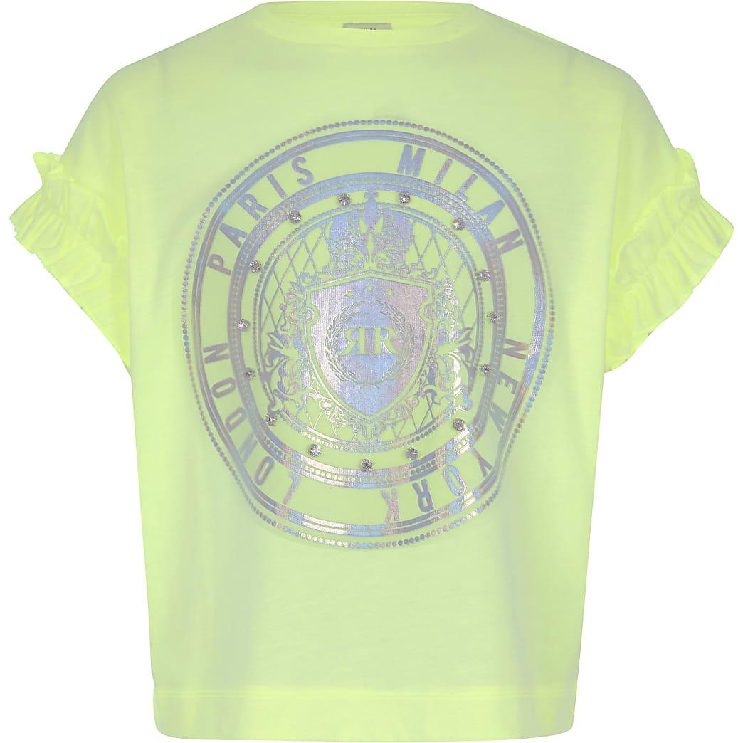 Girls neon green embellished T-shirt