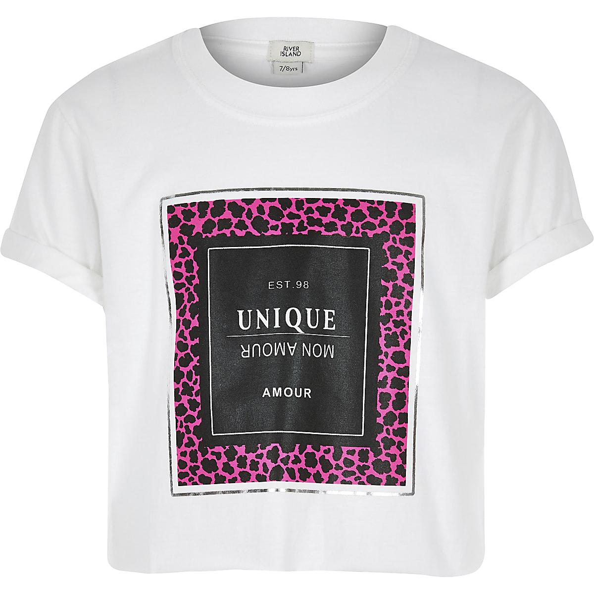 Girls white neon leopard print T-shirt