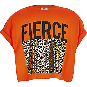 Girls orange leopard print crop top