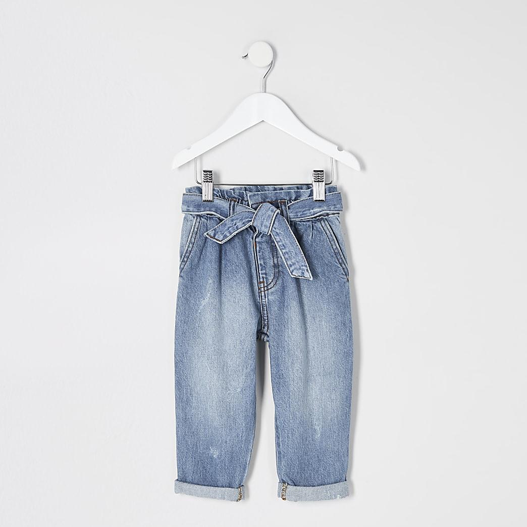 Mini – Blaue Jeans mit Paperbag-Taille für Mädchen