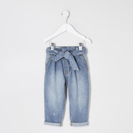 Mini girls blue paperbag waist jeans