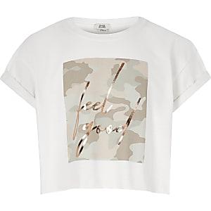 T-shirt met camouflage- en Feel Good-print voor meisjes