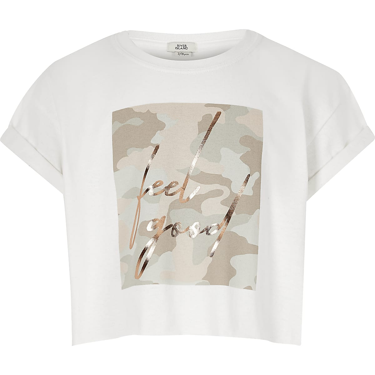 Girls camo print 'Feel Good' T-shirt