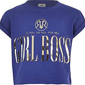 """Blaues T-Shirt """"Girl Boss"""""""
