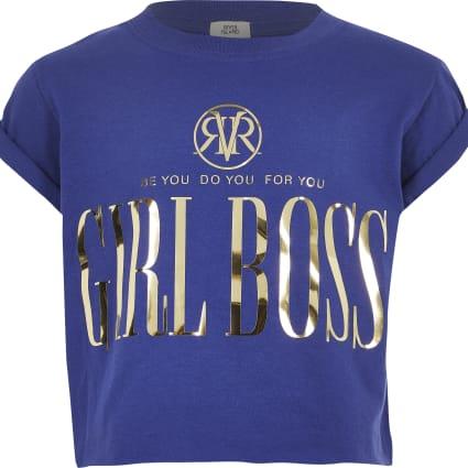 Girls blue 'Girl Boss' T-shirt