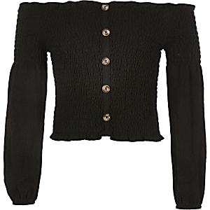 Black Og Ls Shirred Bardot