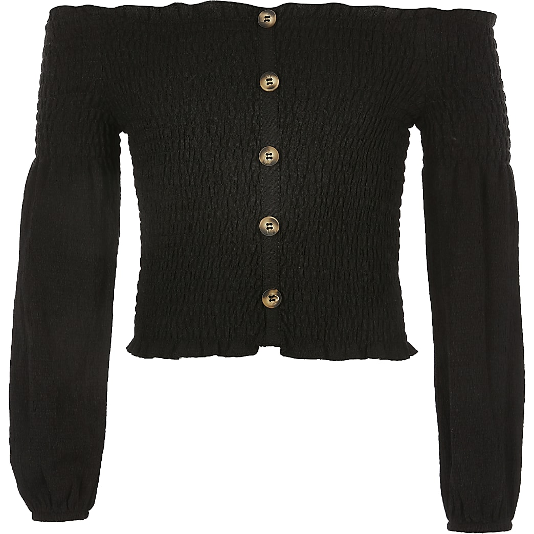 Black long sleeve sheered bardot top