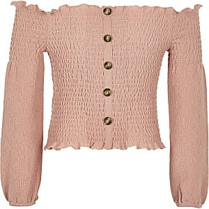 Top Bardot rose froncé fille