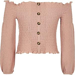 Roze gesmokte bardottop voor meisjes