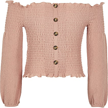 Girls pink shirred bardot top