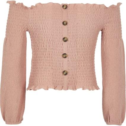 Girls pink shirred bardot top