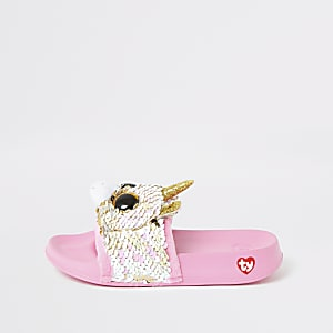 Girls TY pink unicorn sliders
