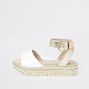 Girls beige studded flatform espadrille wedge