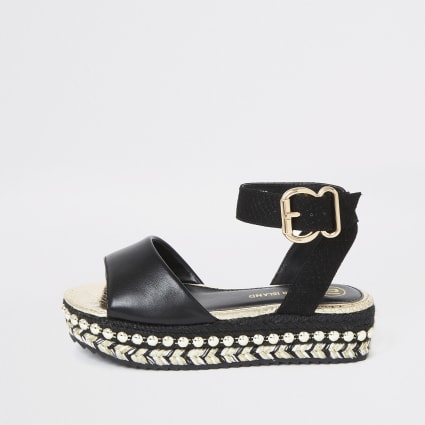 Girls black studded flatform espadrille wedge