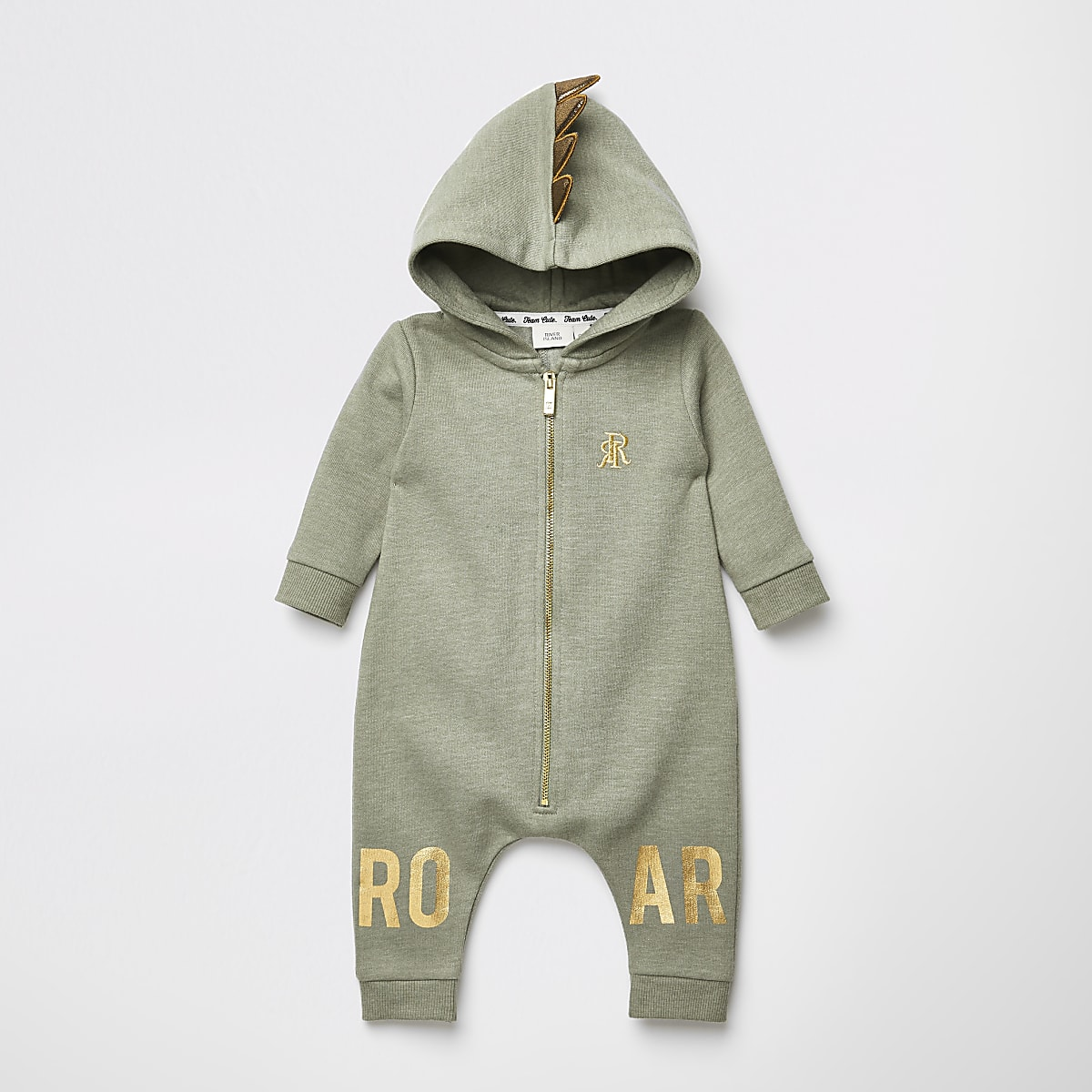 Baby khaki 'Roar' hooded baby grow