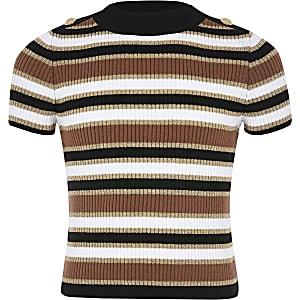 Beige gebreid T-shirt met strepen voor meisjes