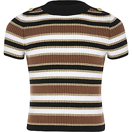 Girls beige stripe knitted T-shirt