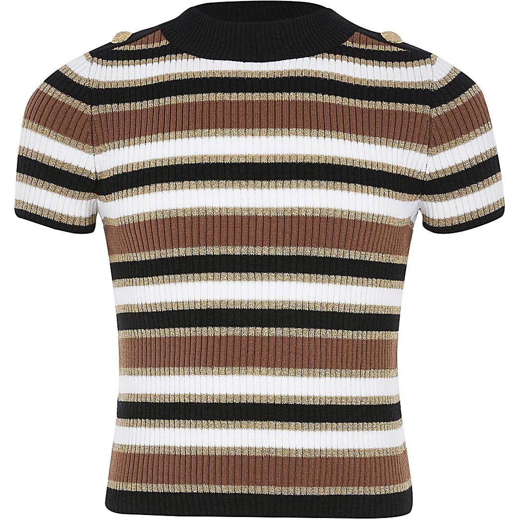 Girls beige stripe knitted T-shirt