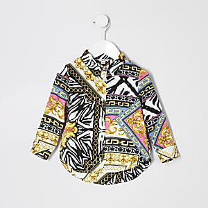 Mini – Weiße Bluse mit Schalmuster für Mädchen