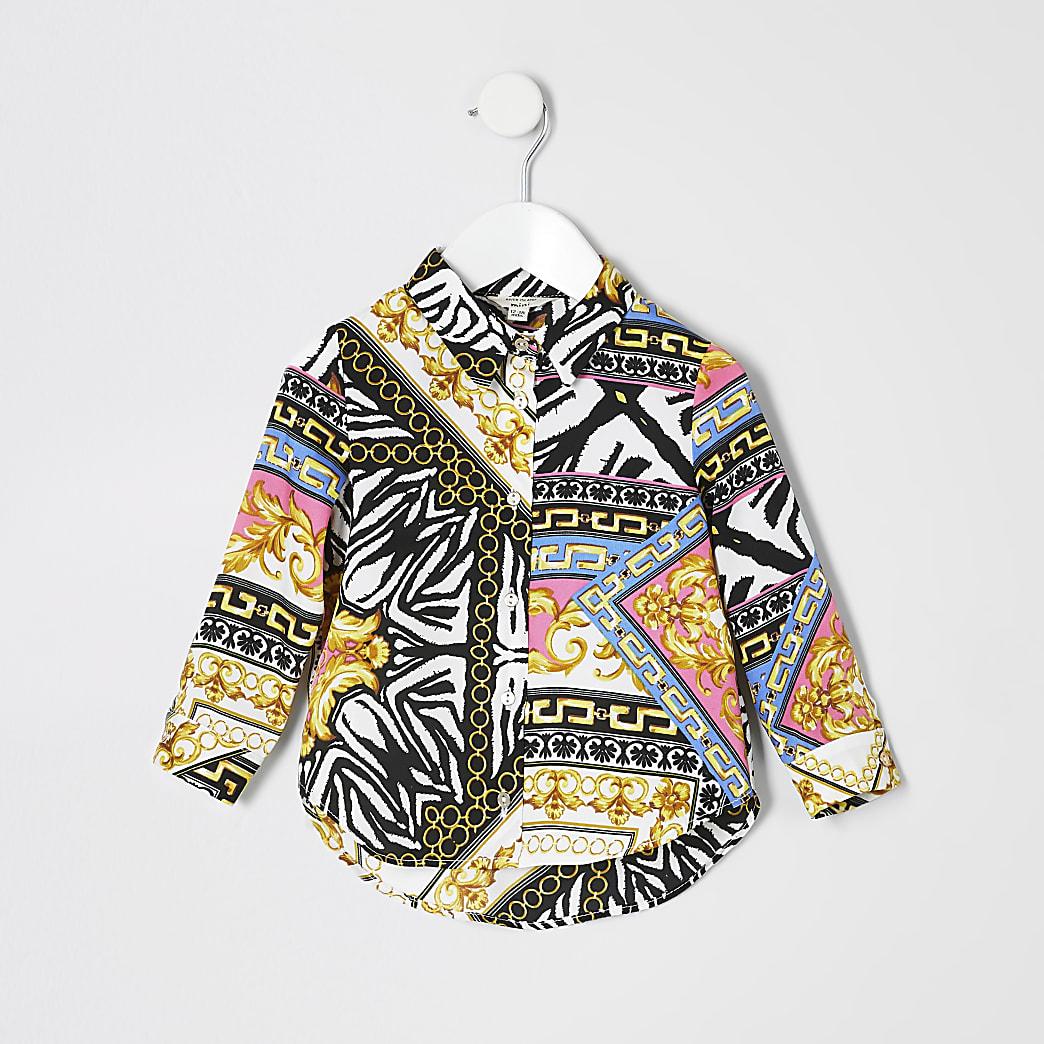 Mini girls white scarf print shirt