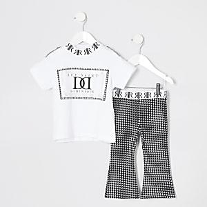 Mini - Outfit met uitlopende broek met de pied-de-poule-motief voor meisjes